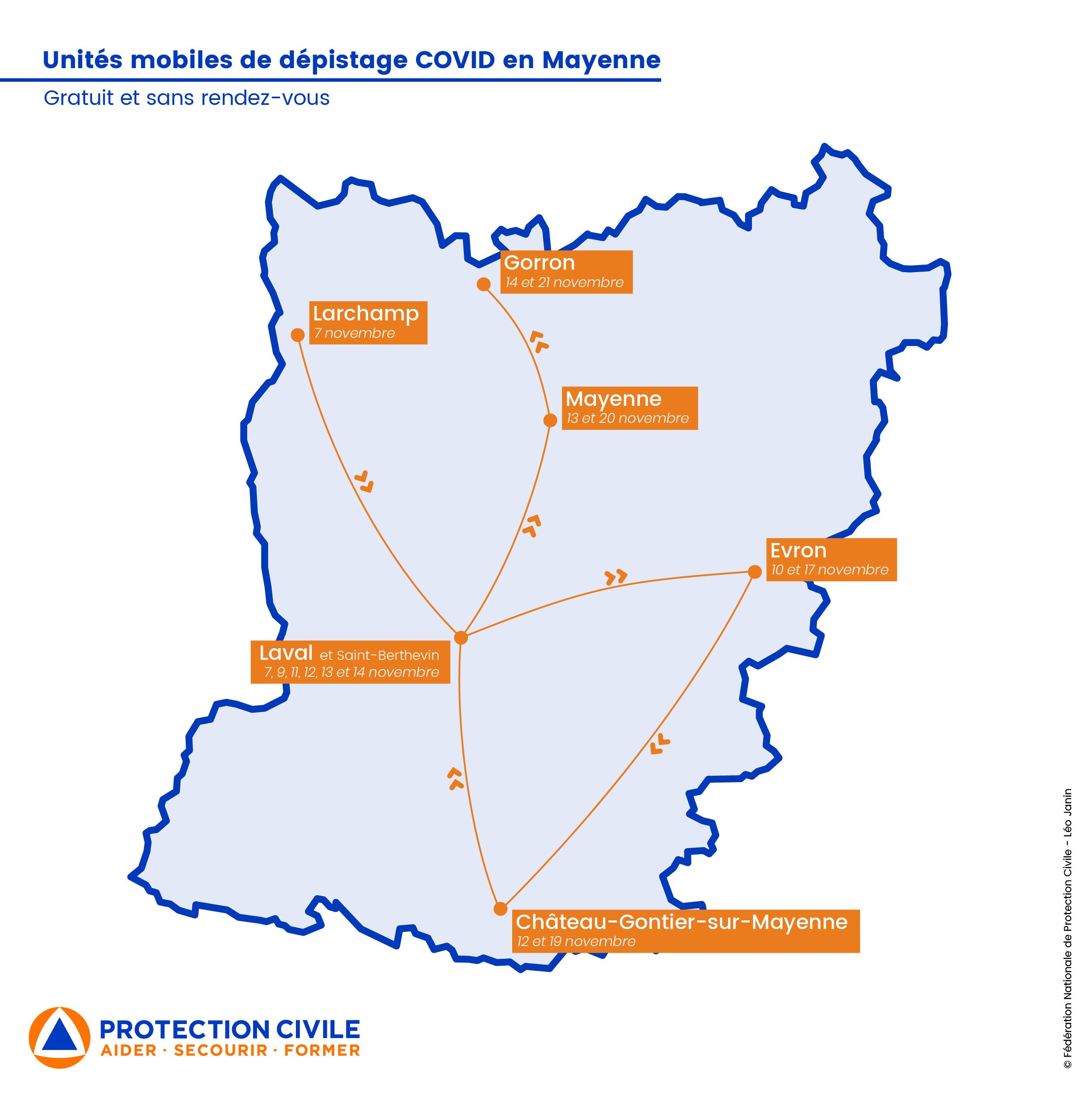 Carte des unités mobiles en Mayenne